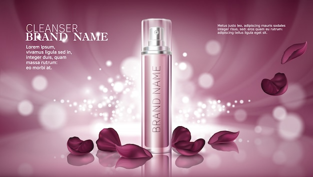 Fundo rosa brilhante com produtos cosméticos hidratantes Vetor grátis