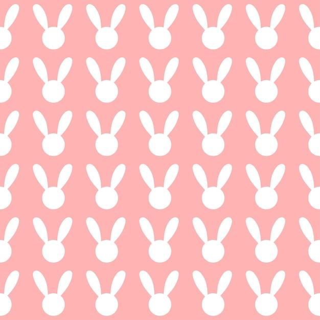 Fundo rosa de coelho branco Vetor Premium