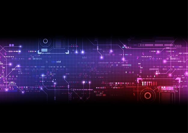 Fundo rosa roxo circuito digital Vetor Premium