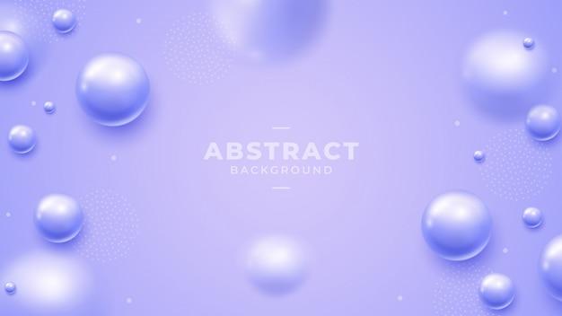 Fundo roxo com belas esferas de bola 3d. Vetor Premium