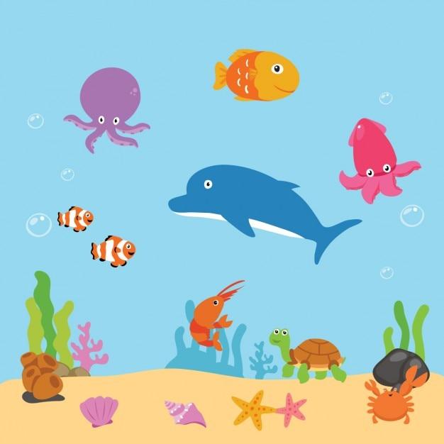 Fundo sealife colorido Vetor grátis