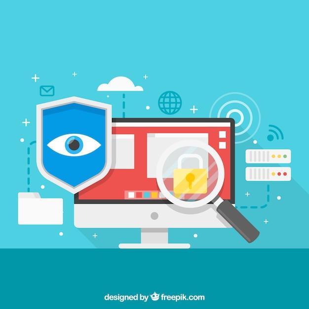 Fundo, segurança, elementos, internet Vetor grátis