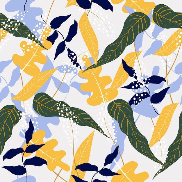 Fundo sem costura padrão floral abstrato Vetor Premium
