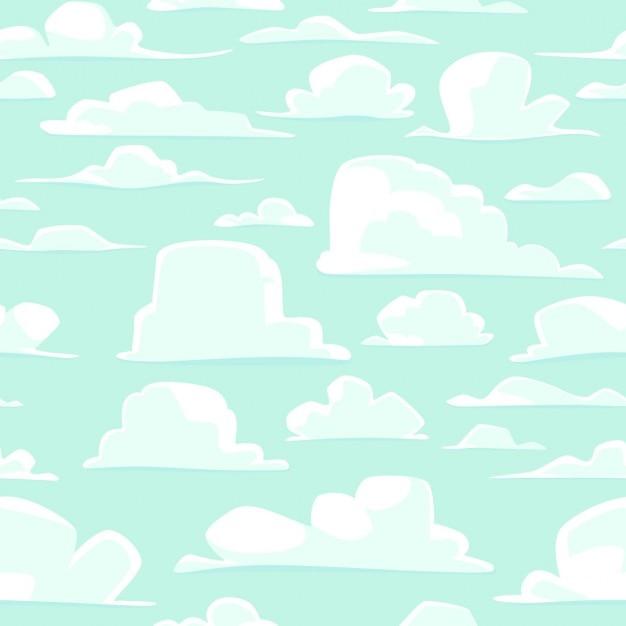 Fundo sem emenda com nuvens dos desenhos animados do vetor Vetor grátis