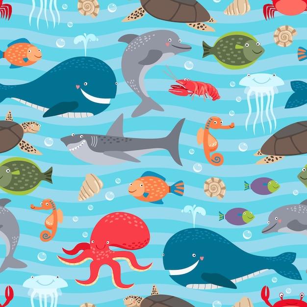 Fundo sem emenda das criaturas do mar. Vetor grátis
