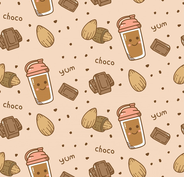 Fundo sem emenda de chocolate no estilo kawaii Vetor Premium