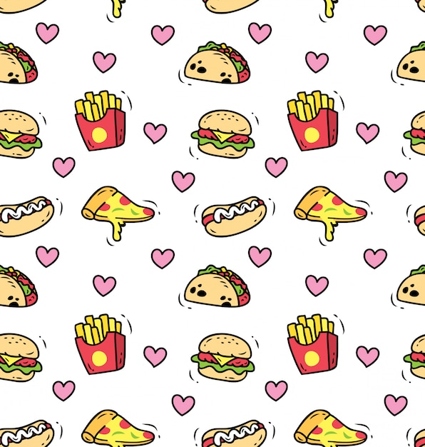 Fundo sem emenda de fast-food Vetor Premium