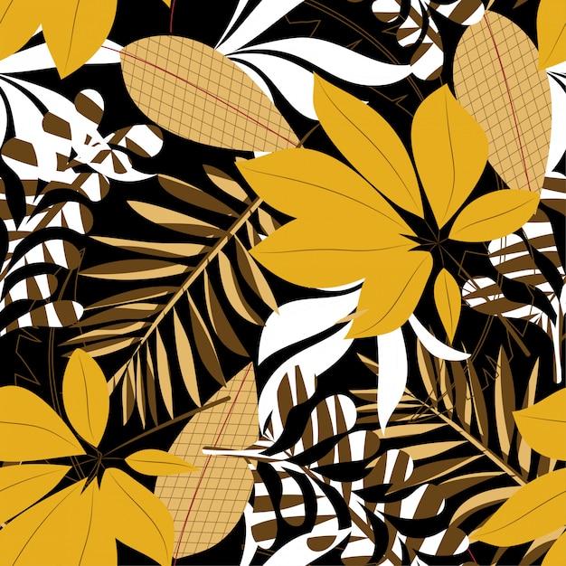 Fundo sem emenda de tendência de verão com folhas e plantas tropicais brilhantes Vetor Premium