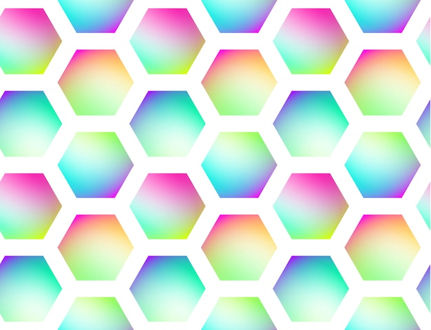 Fundo sem emenda de vetor geométrico holográfico Vetor Premium