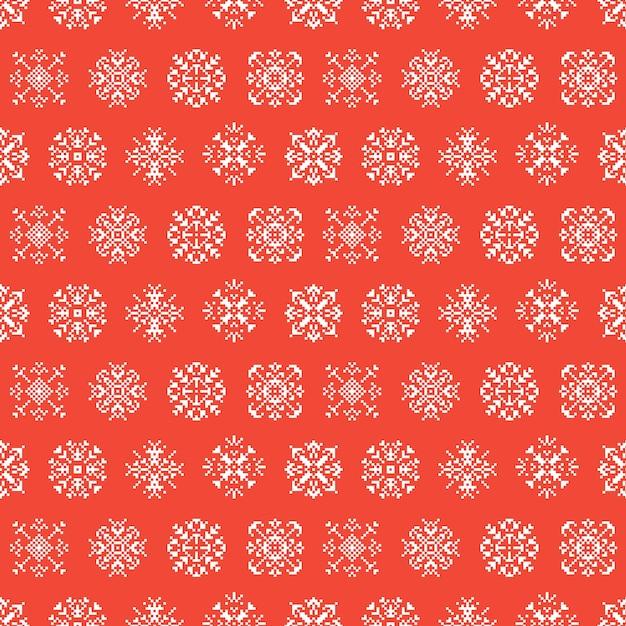 Fundo sem emenda do pixel dos flocos de neve das férias do inverno do natal. padronizar Vetor Premium