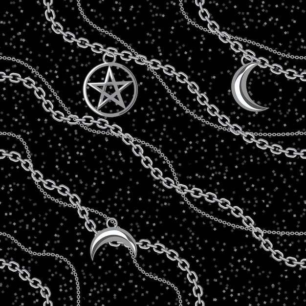 Fundo sem emenda do teste padrão com os pendentes do pentagram e da lua na corrente metálica de prata. no preto. Vetor Premium