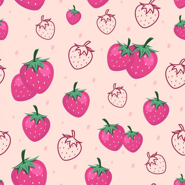 Fundo sem emenda do teste padrão da fruta da morango Vetor Premium