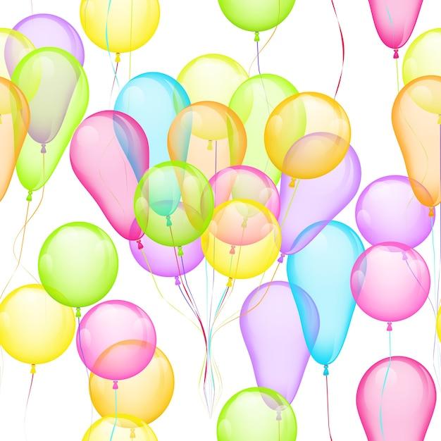 Fundo sem emenda do vetor com balões multicoloridos em branco Vetor grátis