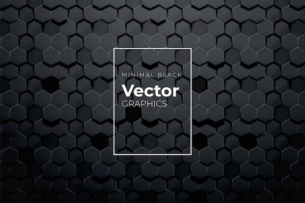 Fundo sem emenda geométrico da telha do teste padrão do sumário do volume 3d. padrão preto mínimo da linha de metal Vetor Premium
