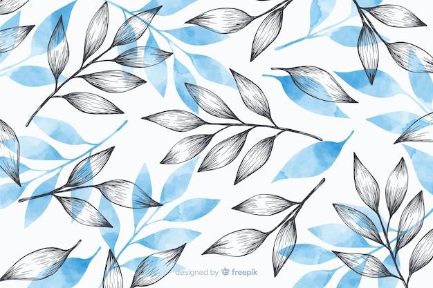 Fundo simples com folhas cinza e azuis Vetor grátis
