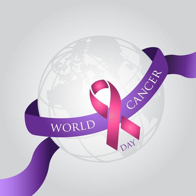 Fundo simples do dia mundial do câncer Vetor Premium