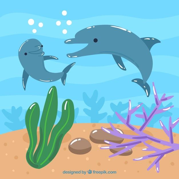 Fundo subaquático com caricaturas de animais aquáticos Vetor grátis