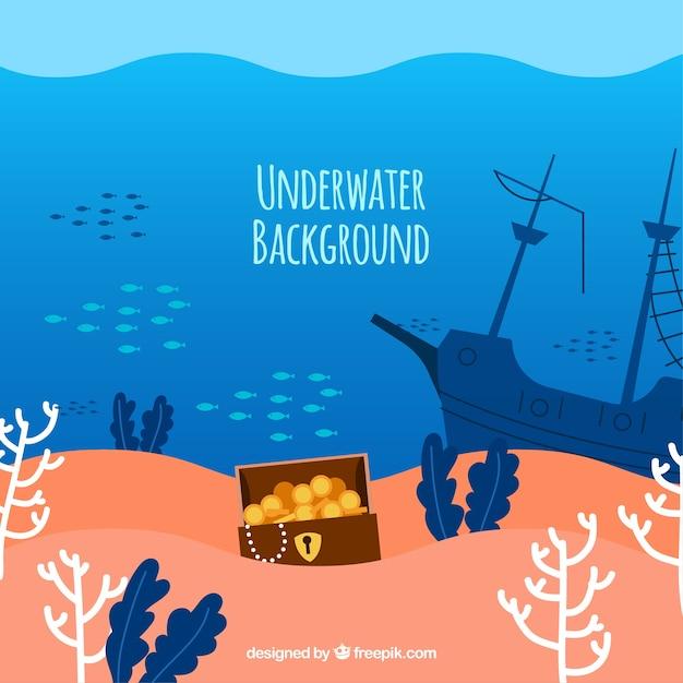 Fundo subaquático com diferentes espécies marinhas Vetor grátis