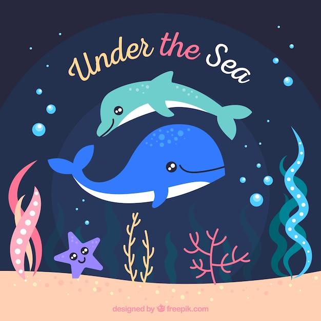 Fundo subaquático com golfinhos fofos Vetor grátis