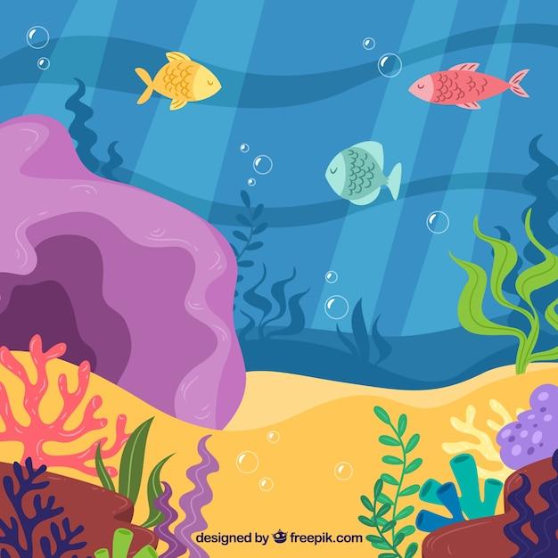Fundo subaquático com peixes e algas Vetor grátis