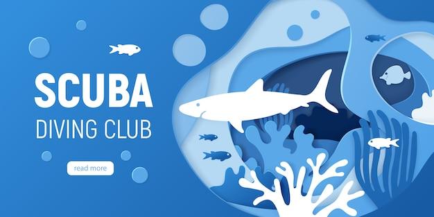 Fundo subaquático cortado papel com recifes de corais. Vetor Premium