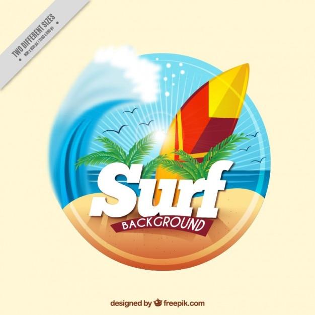 Fundo surf com a prancha na praia Vetor grátis