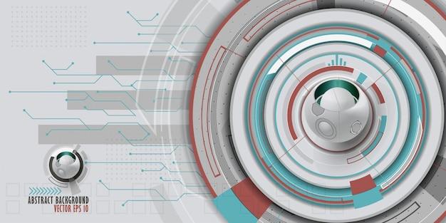 Fundo tecnologico abstrato com vários elementos tecnologicos. Vetor Premium