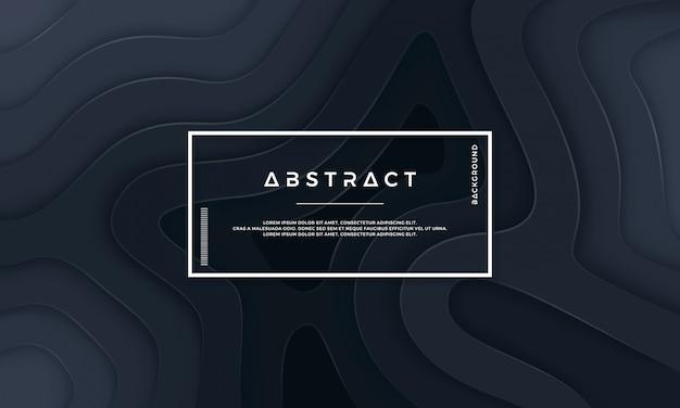Fundo textured preto abstrato com camadas onduladas. Vetor Premium