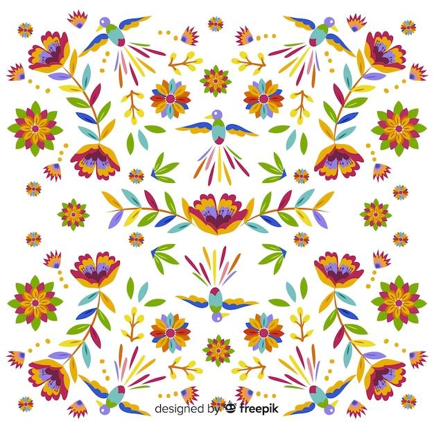 Fundo tradicional bordado mexicano Vetor grátis