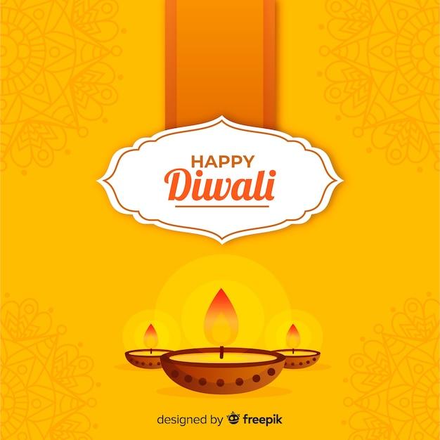 Fundo tradicional de diwali com design plano Vetor grátis