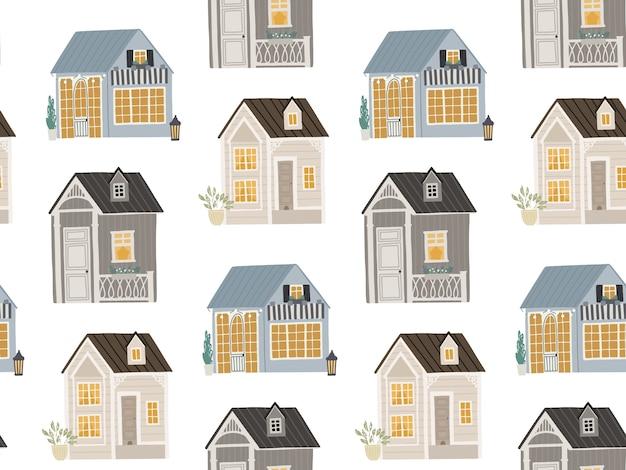 Fundo transparente com casas bonitas ilustração para crianças Vetor Premium