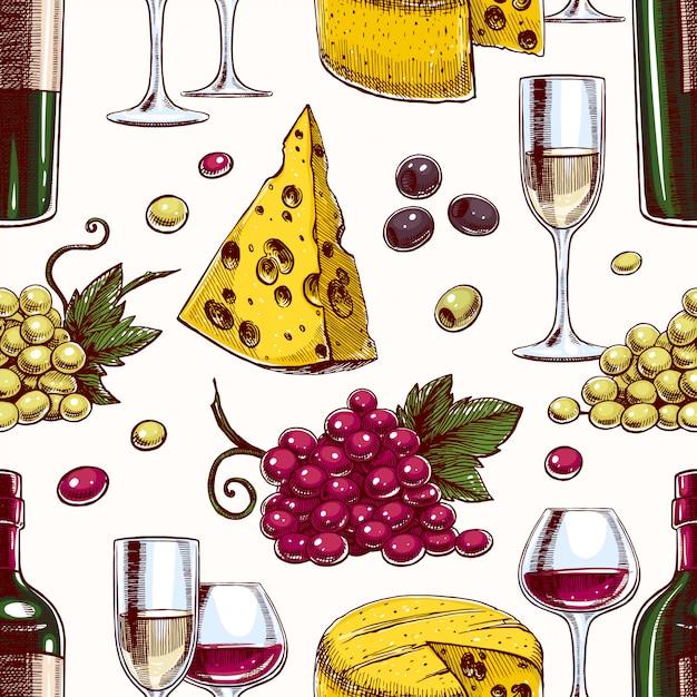 Fundo transparente com garrafas e copos de vinho, uvas e queijo Vetor Premium