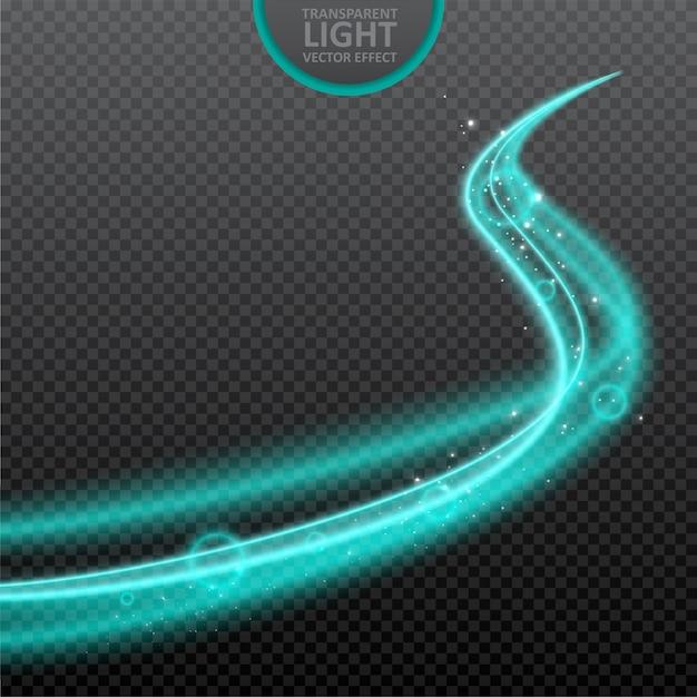 Fundo transparente efeito de luz azul com brilhos realistas. Vetor Premium