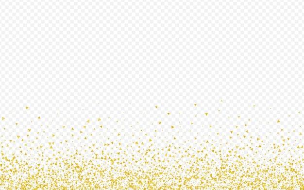Fundo transparente luxuoso dos cacos dourados. cartão rich sparkle. papel de parede de efeito de fragmento de ouro. padrão feliz de lantejoulas. Vetor Premium