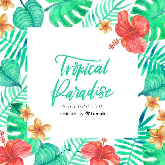 Fundo tropical aquarela colorida Vetor grátis