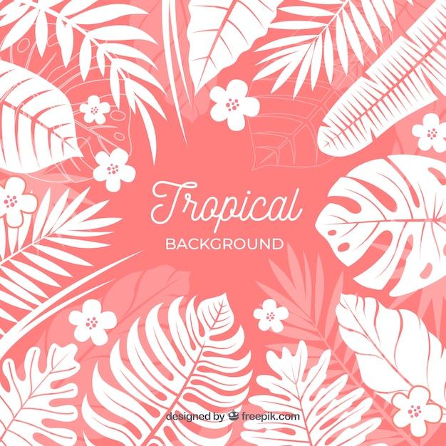 Fundo tropical colorido com folhas e flores Vetor grátis