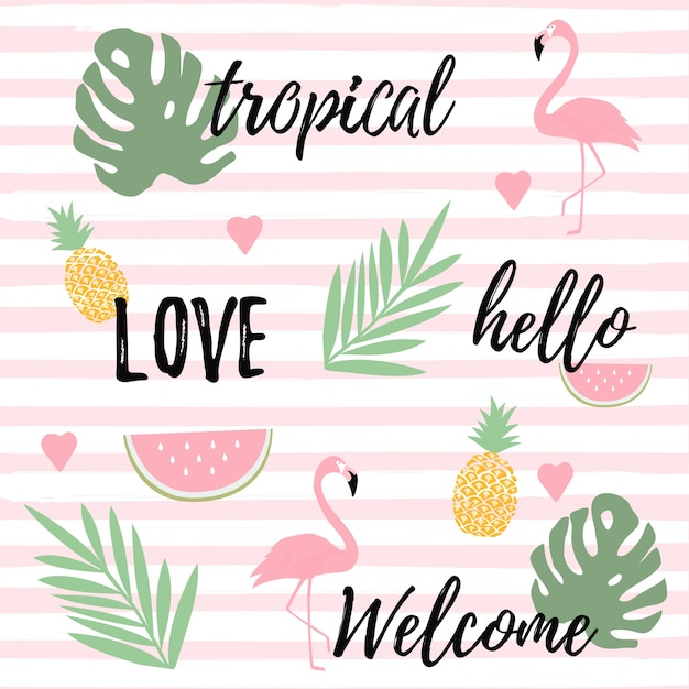 Fundo tropical com flamingos, melancia e abacaxi Vetor Premium
