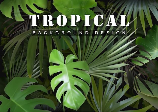 Fundo tropical com plantas da selva Vetor Premium