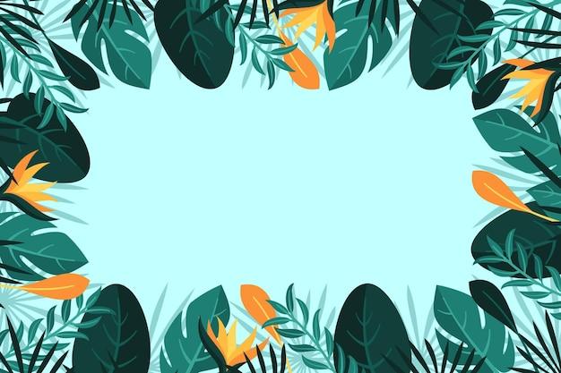 Fundo tropical de folhas e flores Vetor grátis