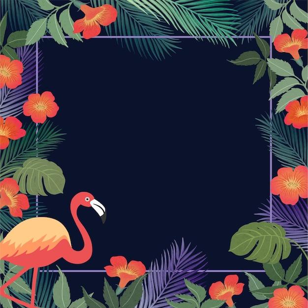 Fundo tropical de verão com flamingo e folhas exóticas. Vetor Premium