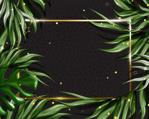 Fundo tropical de verão com folhas exóticas. modelo de promoções, vendas, convites de casamento, eventos, férias. . Vetor Premium