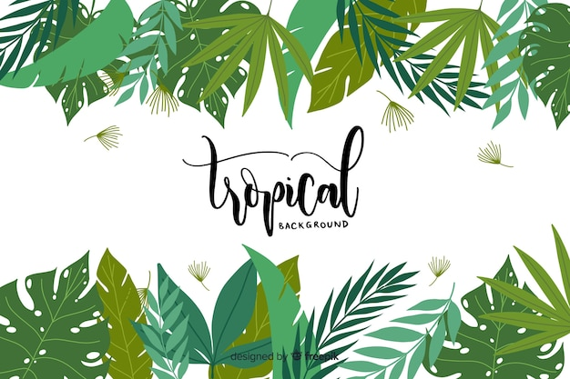 Fundo tropical desenhada de mão Vetor grátis