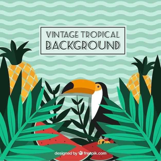 Fundo tropical em estilo vintage Vetor grátis
