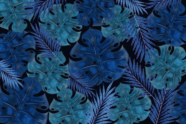 Fundo tropical escuro realista de folhas Vetor grátis