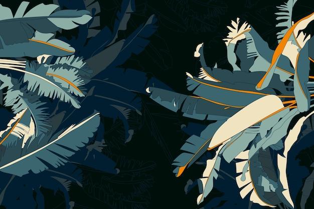 Fundo tropical escuro realista folhas Vetor grátis