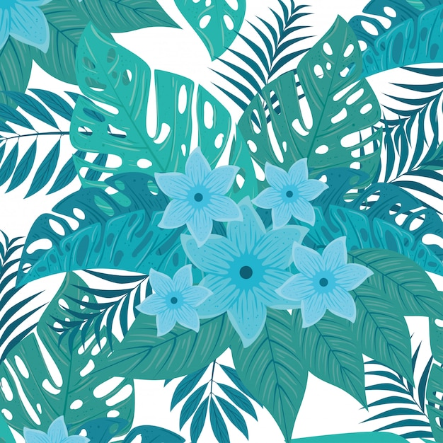 Fundo tropical, flores de cor azul e plantas tropicais, decoração com flores e folhas tropicais Vetor Premium