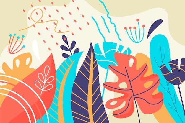 Fundo tropical ilustrado das folhas Vetor grátis