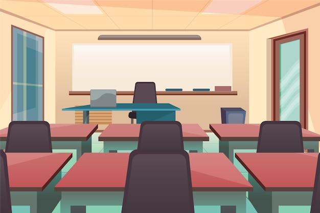 Fundo vazio da classe escolar para videoconferência Vetor Premium