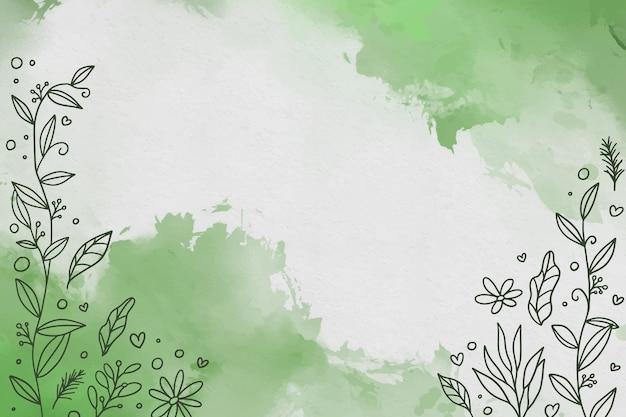 Fundo verde aquarela com flores Vetor grátis