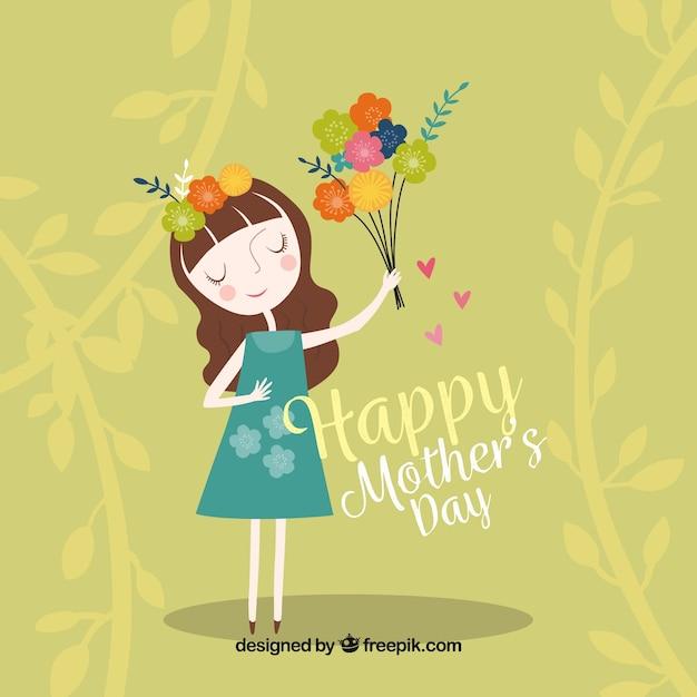 Fundo verde da mulher com flores para o dia de mãe Vetor grátis